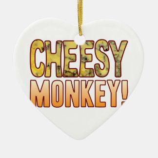 Monkey Blue Cheesy Ceramic Heart Decoration