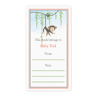 Monkey Bookplate Shipping Label