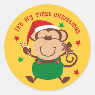 Monkey Boy 1st Christmas Round Sticker