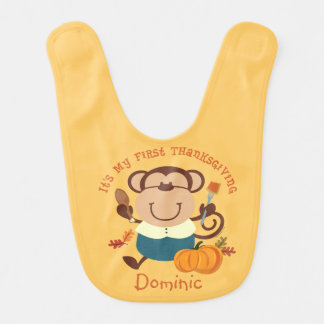 Monkey Boy 1st Thanksgiving Bib