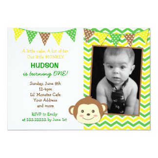 Monkey Boy Birthday Invitations