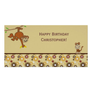 Monkey Boy Birthday Party Banner Posters