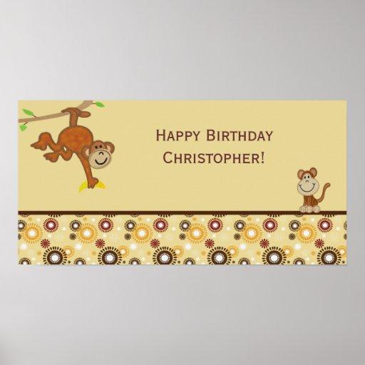 Monkey Boy Birthday Party Banner Posters