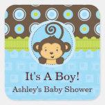 Monkey Boy Square Baby Shower Stickers