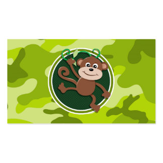 Monkey bright green camo camouflage business card templates