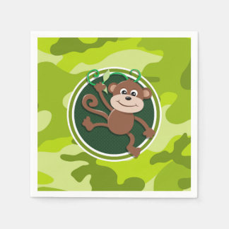 Monkey; bright green camo, camouflage disposable napkin