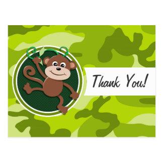 Monkey; bright green camo, camouflage postcards