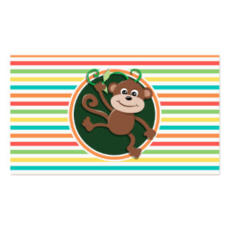 Monkey Bright Rainbow Stripes Business Card Template
