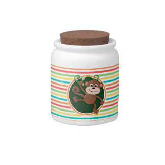 Monkey; Bright Rainbow Stripes Candy Jars