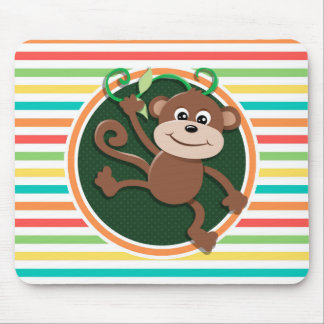 Monkey; Bright Rainbow Stripes Mouse Pads