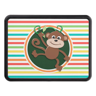 Monkey; Bright Rainbow Stripes Trailer Hitch Covers