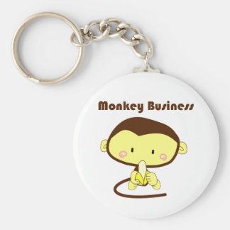Monkey Business Brown and Yellow Chimp Cartoon Keychain