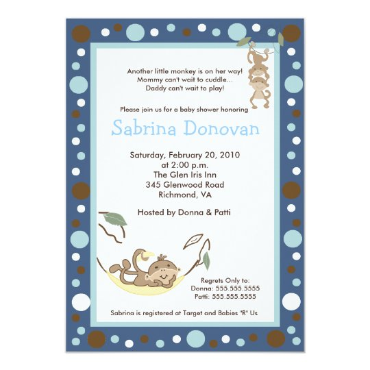 Monkey Business Dark Blue / Brown Baby Shower Card