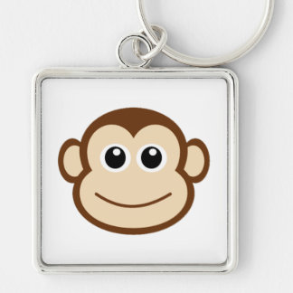 Monkey Cartoon Silver-Colored Square Key Ring