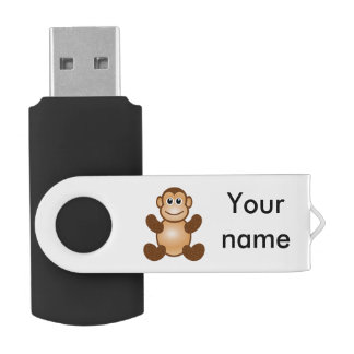 Monkey cartoon swivel USB 2.0 flash drive