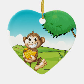 Monkey Ceramic Heart Decoration