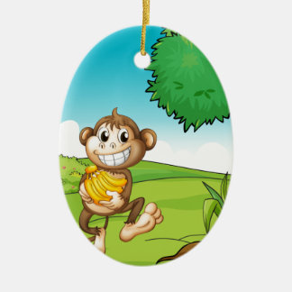 Monkey Ceramic Oval Decoration