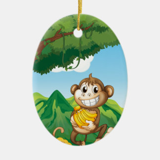 Monkey Ceramic Oval Decoration