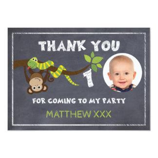 Monkey Chalkboard 1st Birthday Thank You Card