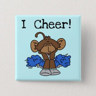 Monkey Cheerleader Blue and Gray Tshirts and Gifts 15 Cm Square Badge