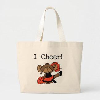 Monkey Cheerleader Orange and Black Jumbo Tote Bag