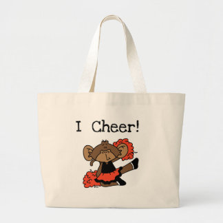 Monkey Cheerleader Orange and Black Large Tote Bag