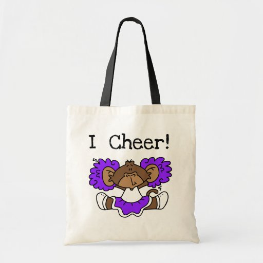 Monkey Cheerleader Purple and White Tote Bags