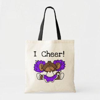 Monkey Cheerleader Purple and White Tote Bags
