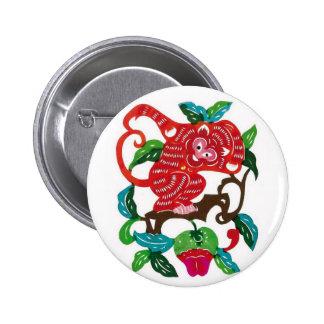 Monkey-Chinese Zodiac Sign 6 Cm Round Badge