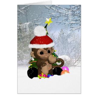 Monkey Christmas Card, Cute Monkey In Snow Card