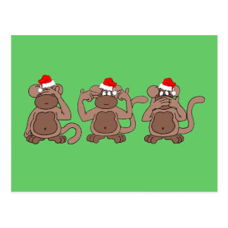 monkey Christmas Postcard
