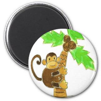 monkey climbing tree refrigerator magnet