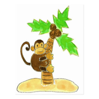 monkey climbing tree post card