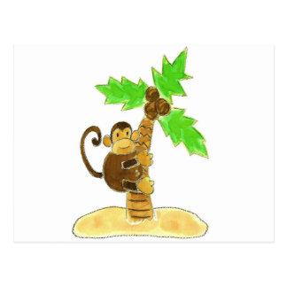monkey climbing tree postcard