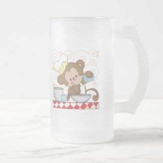 Monkey Cook Frosted Glass Mug