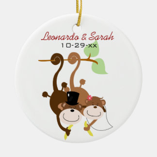 Monkey Couple Circle Custom Ornament