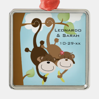 Monkey Couple in Tree Custom Ornament