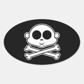 Monkey Cross Bone Oval Sticker