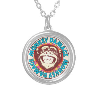 Monkey Damage Round Pendant Necklace