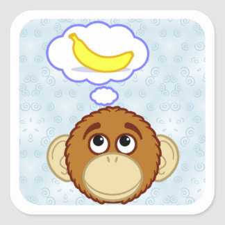 Monkey Daydreams Square Sticker