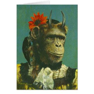 Monkey Demon Greetings Card