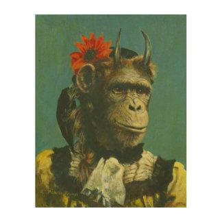 Monkey Demon Surreal Wood Canvas