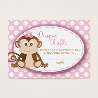Monkey Diaper Raffle Tickets-Baby Girl Business Card