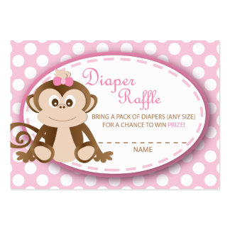 Monkey Diaper Raffle Tickets-Baby Girl Pack Of Chubby Business Cards