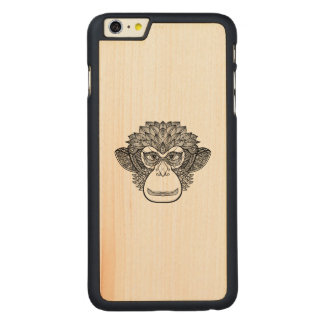 Monkey Doodle Face Carved Maple iPhone 6 Plus Case
