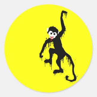 monkey dripz round sticker