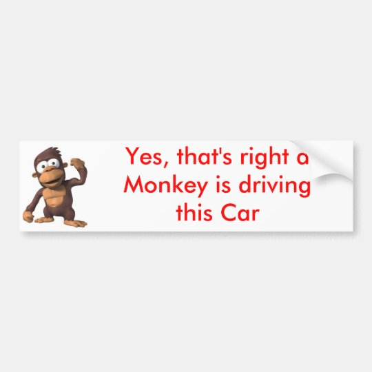 Monkey driving a Car Bumper Sticker