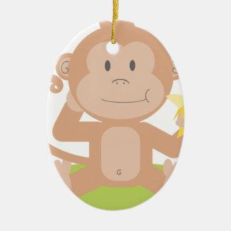 Monkey Eating Banana Christmas Ornament