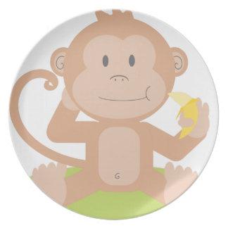 Monkey Eating Banana Plate
