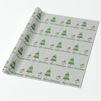 Monkey Elf Christmas Scene Wrapping Paper